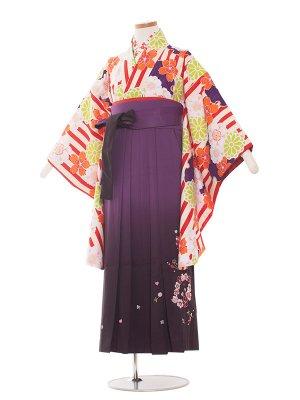 小学生卒業袴レンタル(女の子)1342 ワインストライプ/紫