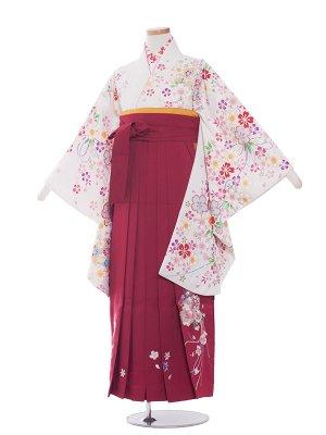 小学生卒業袴レンタル(女の子)1323白小花/ワイン