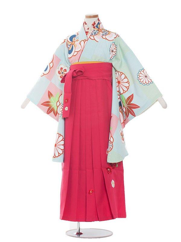 小学生卒業袴(女の子)1366水色梅×チェリーピンク袴