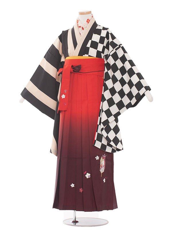 ジュニア(13女)jh1365 黒モダン/橙袴87