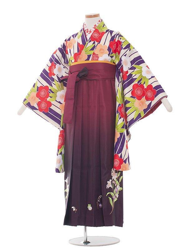 小学生卒業袴レンタル(女の子)1341 紫矢絣/ワイン