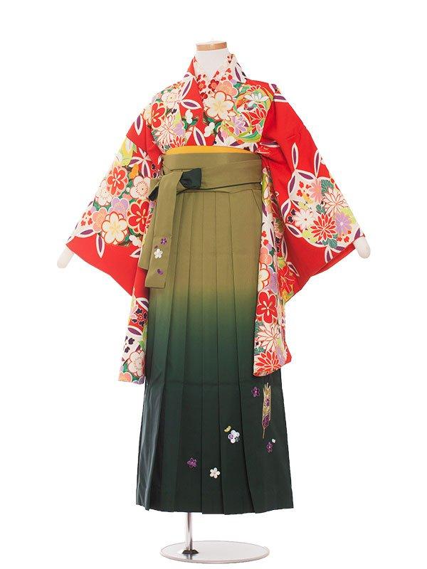 小学生卒業袴(女の子)1350 赤モダン/袴85