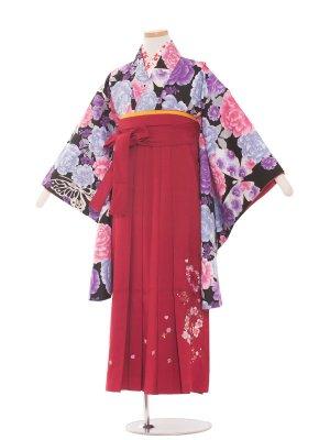 小学生卒業袴レンタル(女の子)1344 黒大花/ワイン袴85