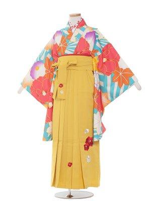 小学生卒業袴レンタル(女の子)1389水色椿と紅葉