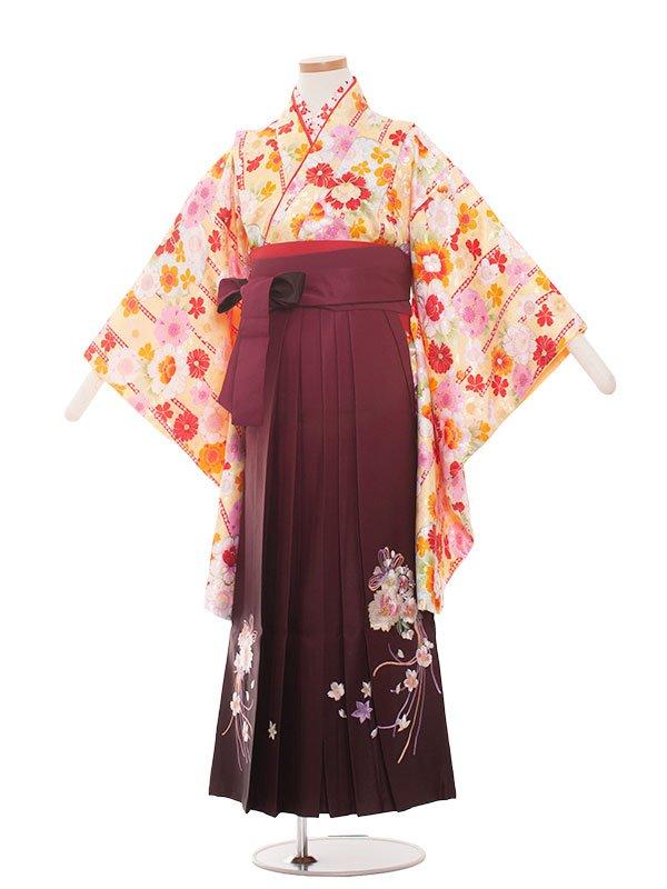 小学生卒業袴(女の子)1315黄色の小花/ワイン