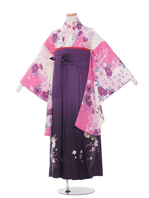 小学生卒業袴レンタル(女の子)1326ピンク花/紫ぼかし