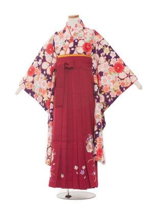 小学生卒業袴レンタル(女の子)1329紫/小町/ワイン