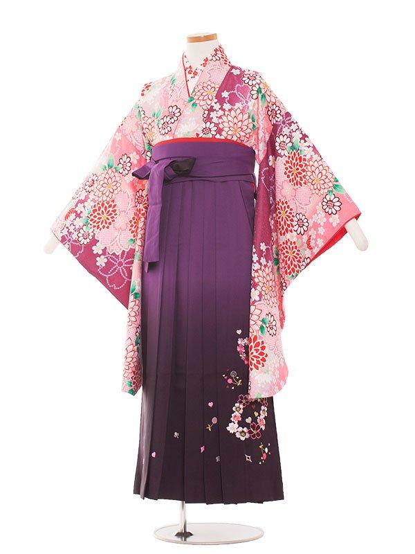 小学生卒業袴(女の子)1336 ローズ/紫ぼかし