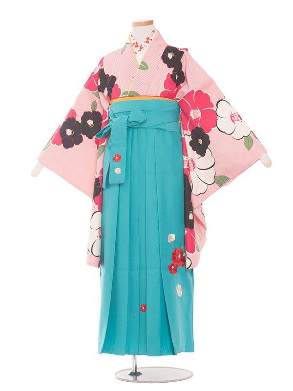 小学生卒業袴(女の子)1396ピンク細ストライプに白赤椿