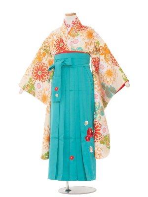 小学生卒業袴レンタル(女の子)1380クリーム地に大菊/小町