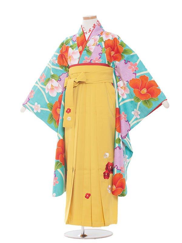 小学生卒業袴(女の子)1385水色花と雪輪/小町
