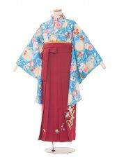 ジュニア(13女)jh1345 水色小花/ワイン袴85