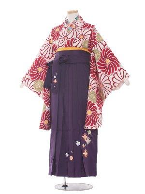 小学生卒業袴レンタル(女の子)1349 赤系ねじり梅/紫袴87