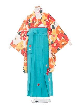 小学生卒業袴レンタル(女の子)1393オレンジ系の椿