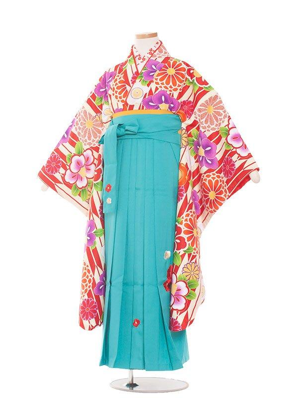 小学生卒業袴(女の子)1381赤の花矢絣/小町