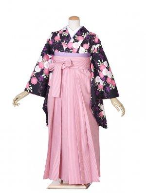 黒小花ピンクストライプ袴