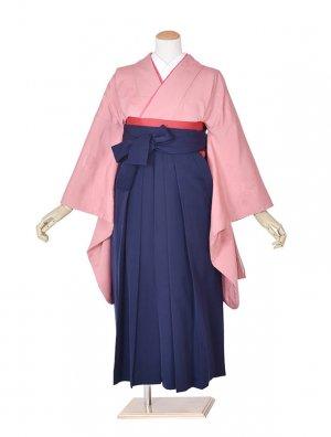 小学生卒業式袴女児0045ピンク花紋×紺袴