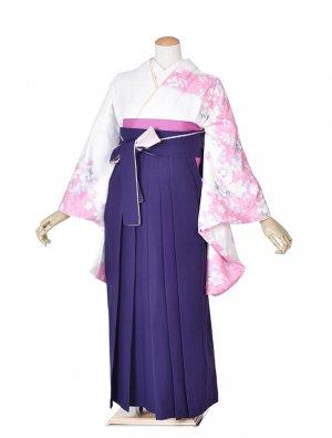 小学生卒業式袴女児0037白花×紫ピンク袴