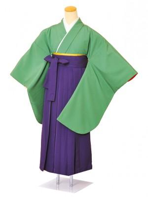 小学生卒業式袴女児0018グリーン緑無地×紫袴