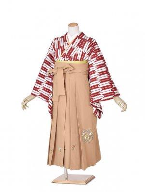 小学生卒業式袴女児赤矢絣×山吹袴