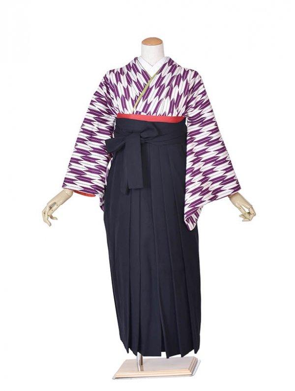小学生卒業式袴女児0062紫矢絣×黒袴