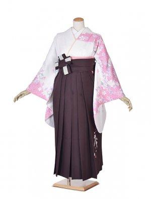 小学生卒業式袴女児0013白花×紫袴