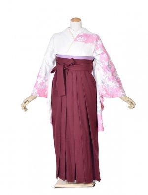 小学生卒業式袴女児0014白花×えんじ袴