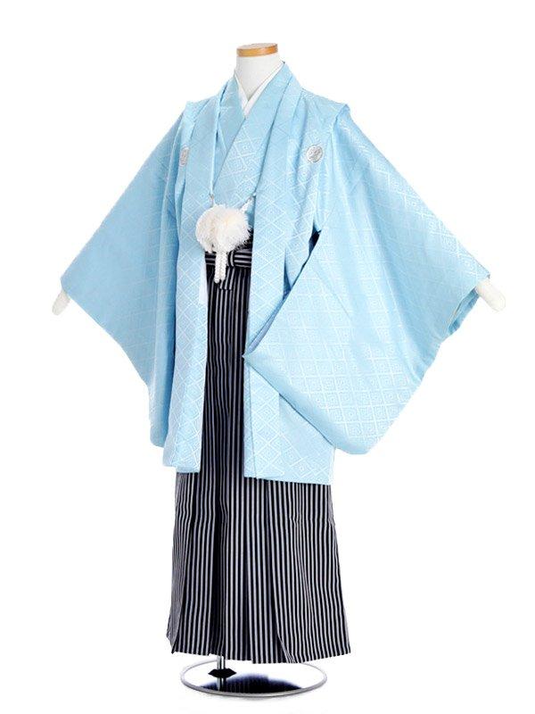 ジュニア男児水色紋付×縞袴bm13
