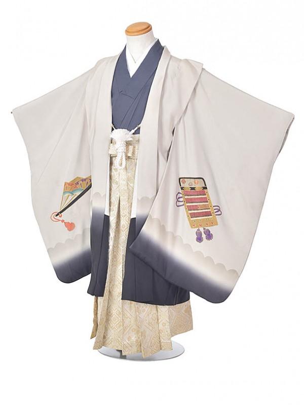 753レンタル(5歳袴)FF106正絹グレーカブト