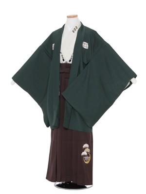 小学生卒業式 袴 男児0003緑×茶
