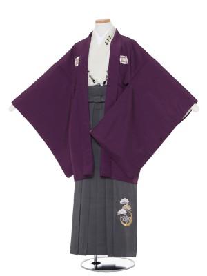 小学生卒業式 袴 男児0000紫×グレー