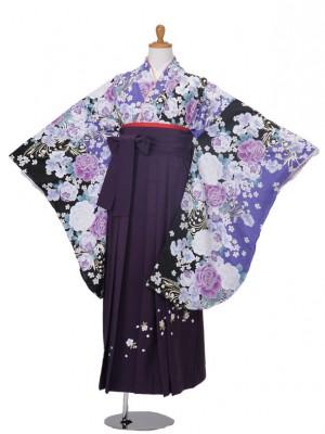 小学生卒業式袴女児801ブルー地バラ/99パープル刺繍