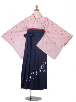 小学生卒業式袴女児730ピンク/103紺刺繍